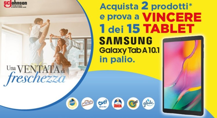 Concorso Glade Oust Duck Pronto Shout Mr Muscle da Conad vinci tablet Samsung Galaxy Tab