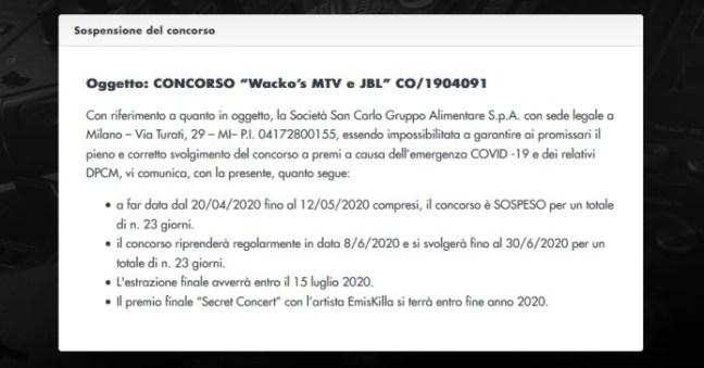 www.scontrinofelice.it concorso wackos sospeso ecco quando ripartira sospensione concorso wackos mtv e jbl Concorso Wacko's sospeso: ecco quando ripartirà!