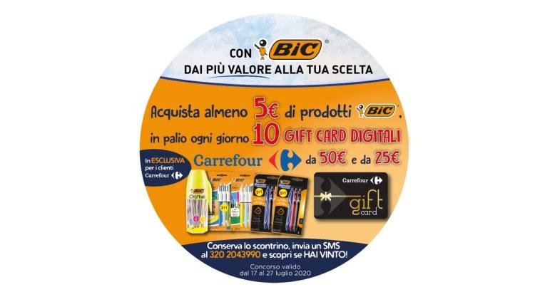 Concorso Bic da Carrefour vinci 10 gift card da 50€ e 25€ ogni giorno