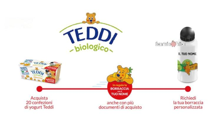 yogurt Teddi ti regala la borraccia con il tuo nome