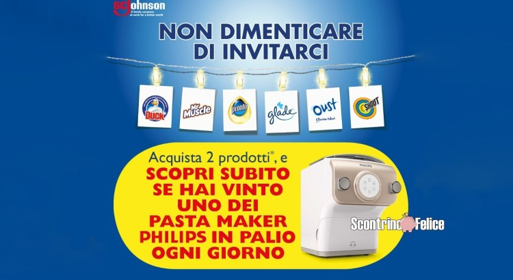 Concorso Glade Oust Duck Pronto Shout Mr Muscle da Acqua e Sapone e La Saponeria vinci 22 Pasta Maker Philips