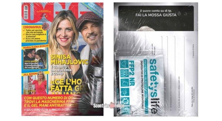 gel detergente mani EcoPure e mascherina FFP2 SafetysLife con Oggi