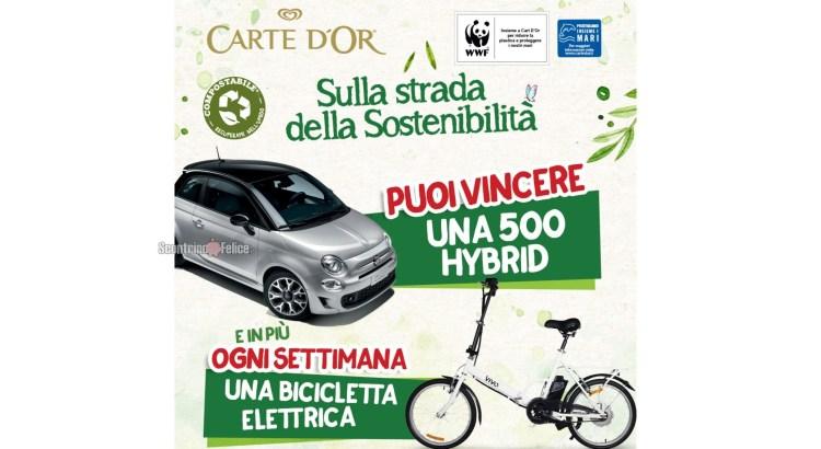 Concorso Carte D'Or Sulla Strada Della Sostenibilita vinci Biciclette Elettriche VivoBike e Fiat 500