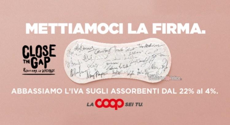 Coop Italia taglia l'Iva dal 22% al 4% sugli assorbenti femminili Close the Gap