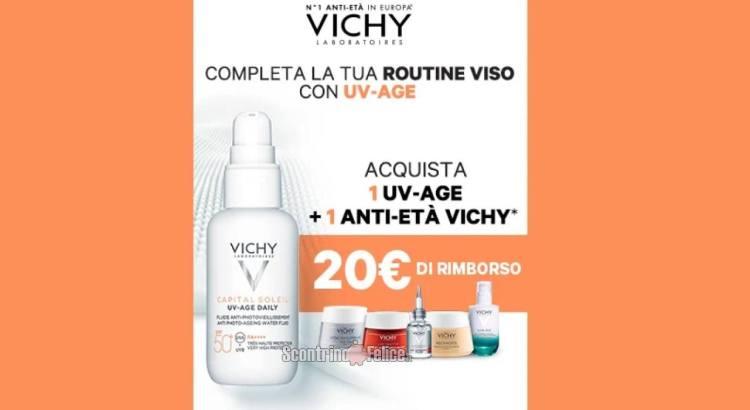 Acquista 1 prodotto Uv Age e 1 Anti-Età Vichy e ricevi il rimborso di 20 euro