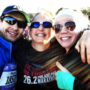 Kyle with her favorite Swede and her favorite mom-who-isn't-her-mom at the Cherry Blossom 2014 10 Miler