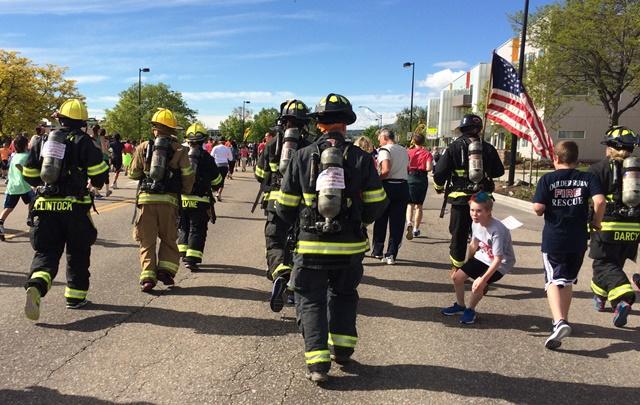 Firefighters run
