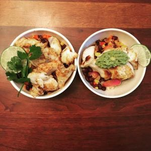 Fish taco bowl (mine's without the cilantro because ew).