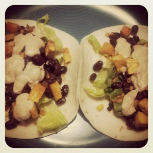Butternut Squash and Black Bean Tacos with Chipotle Cashew Cream Sauce