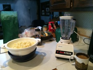 Steaming cauliflower and my ancient blender.