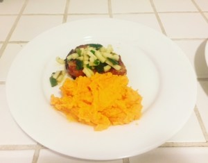 Grilled pork chops with poblano salsa and sweet potato mash. 'Sup.