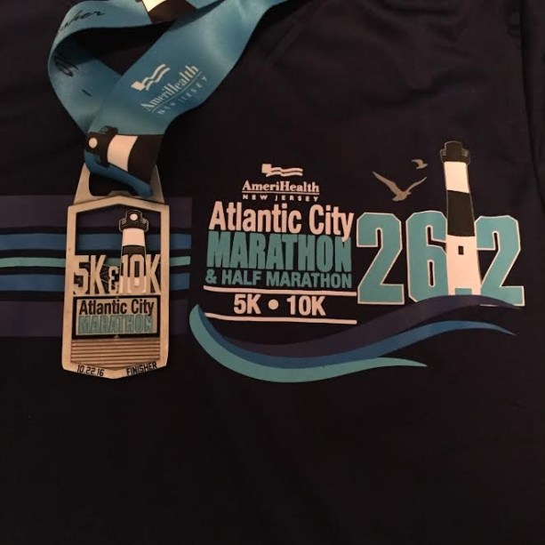 The 5k/10k shirt was white but they were out of my size so I got the blue one instead (which is cool by me, I love it!)