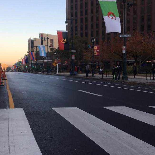 Chrissy stared at an empty street near Love Park (currently under construction), waiting for all the runners!