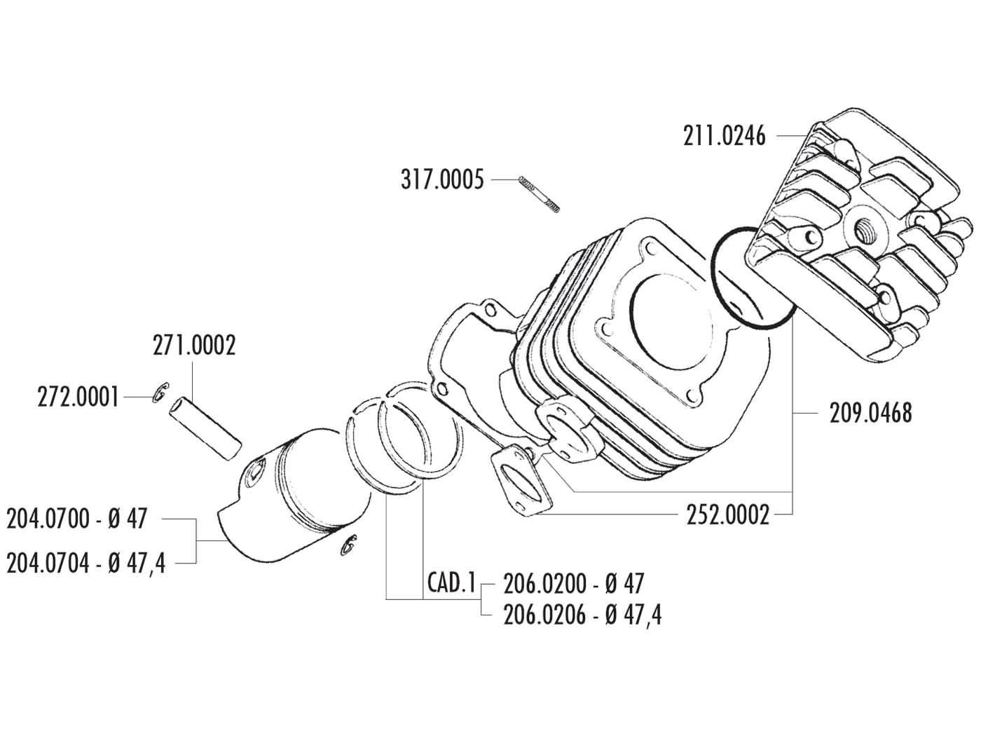 70ccm Polini Sport Zylinder Kymco Agility Grand G Dink