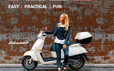 Kymco Like 125 in White with Colour Matched Top Box only $3290  save $700