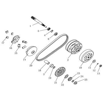 Transmission for 50cc 2-Stroke A/C Minarelli Engines