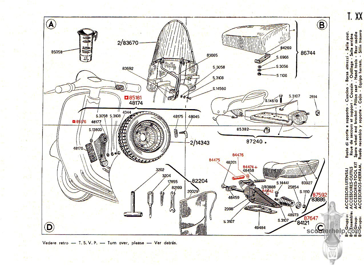 Vespa 125 (VNB2T) Parts Book
