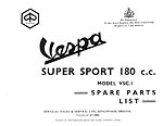 Vespa SS180 (VSC1T) Parts Book