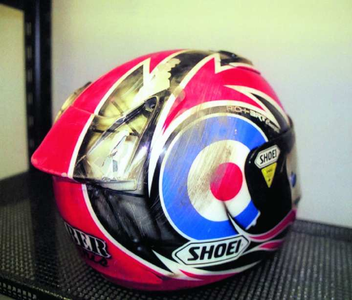 British Superbike (BSB) racers sponsored by Shoei use 'off-the-shelf' helmets, exactly the same as you or I can buy, except they are then painted by experts in their racing colours. Karl Harris head-butted the tyre wall at Brands Hatch last year at 146mph wearing this very helmet here. His bike and his pride were more damaged than he was.
