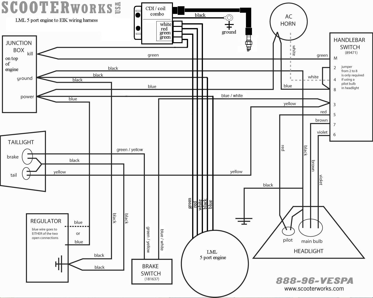 taotao 50cc scooter wiring diagram headlight taotao wiring  LML_5_port_engine_to_EIK_harness?resize\=665%2C532\&ssl\=1 taotao 50cc  scooter