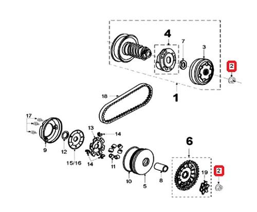 Écrou de variateur et allumage Peugeot Ludix / Trekker