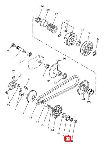 Rondelle de variateur MBK Booster / Nitro