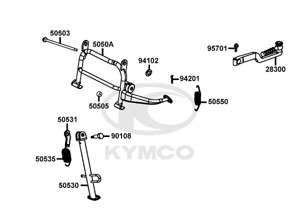Béquille latérale origine Kymco 50 2T Agility RS Naked