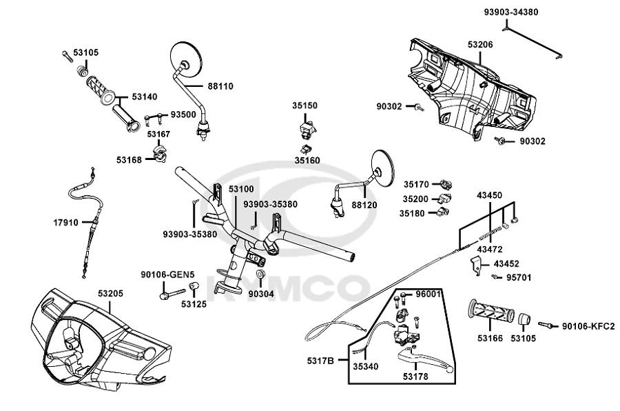 Câble de frein arrière origine Kymco 50 2T Like