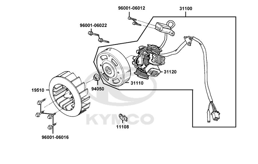 Rotor d'allumage origine Kymco 50 2T Super 8 (2013)