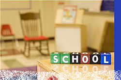 "Picture of blocks spelling out the word ""school"""