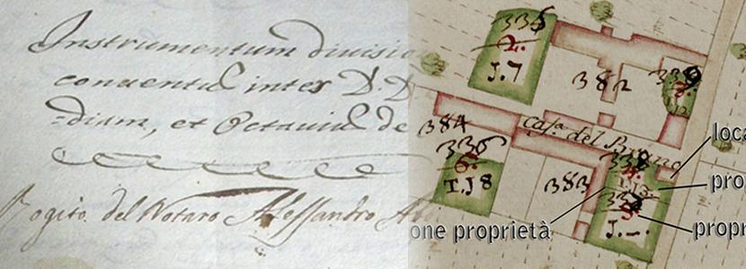 ISTRUMENTO DIVISIONE PROPRIETA' OSIO ALLA CASCINA DEL BRUNO ANNO 1717