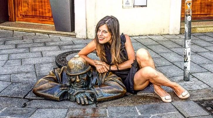 "Statua ""Man at work"" - Bratislava, Slovacchia (Europa)"