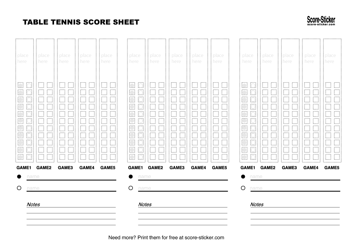Table tennis score keeping is easy with Score-Stickers for