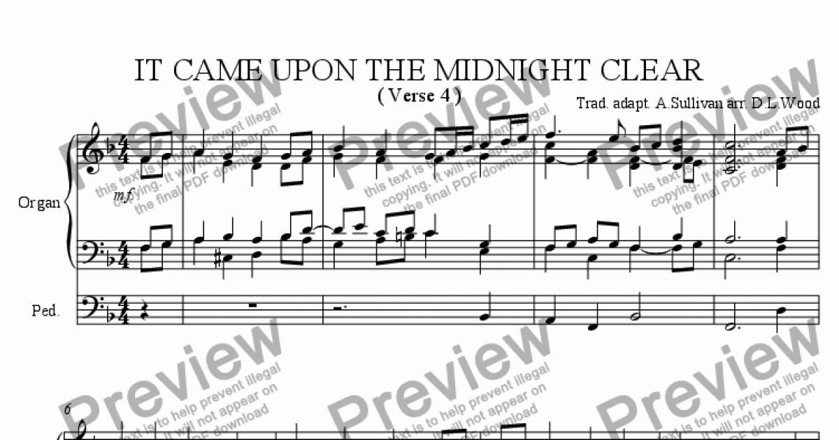 It came upon the midnight clear last verse organ arrangement