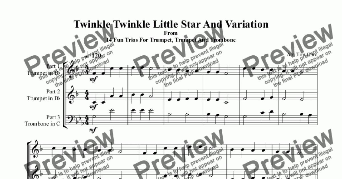 Twinkle Twinkle Little Star And Variation. Trio For
