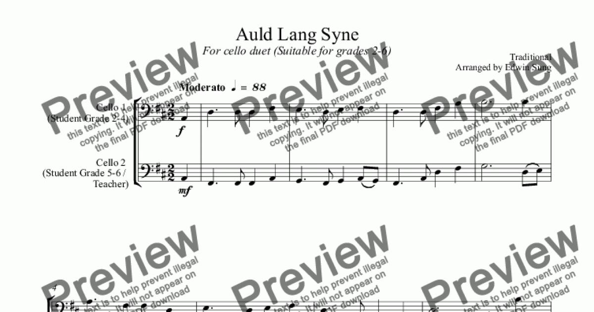 Auld Lang Syne (for cello duet, suitable for grades 2-6