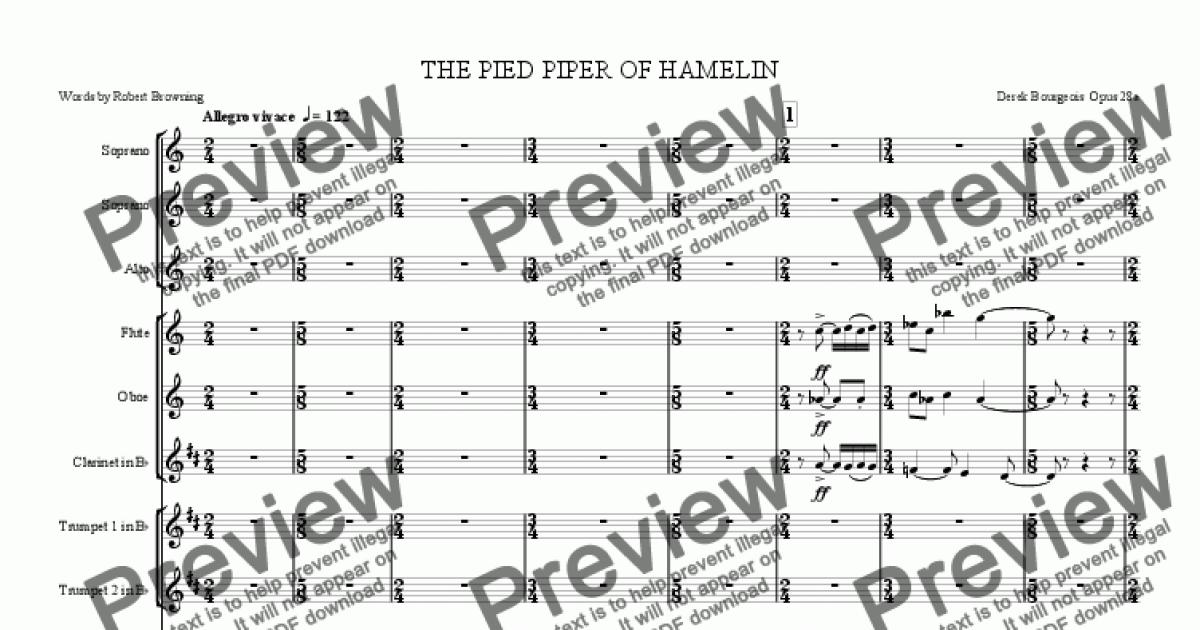 Clarinet in B flat part from The Pied Piper of Hamelin