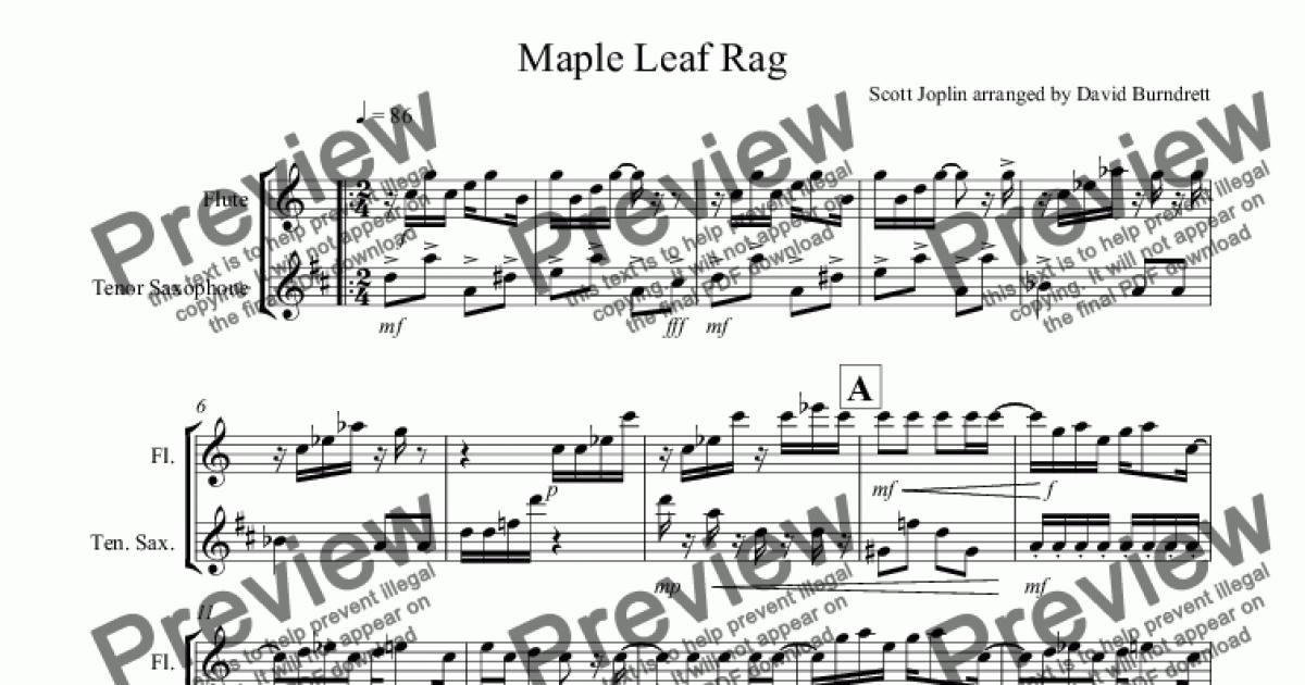 Maple Leaf Rag for Flute and Tenor Saxophone Duet