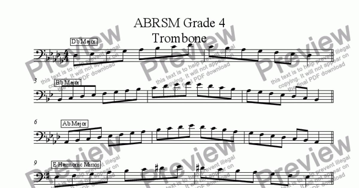 Trombone Grade 4 Scales and Arpeggios (Bass Clef) ABRSM