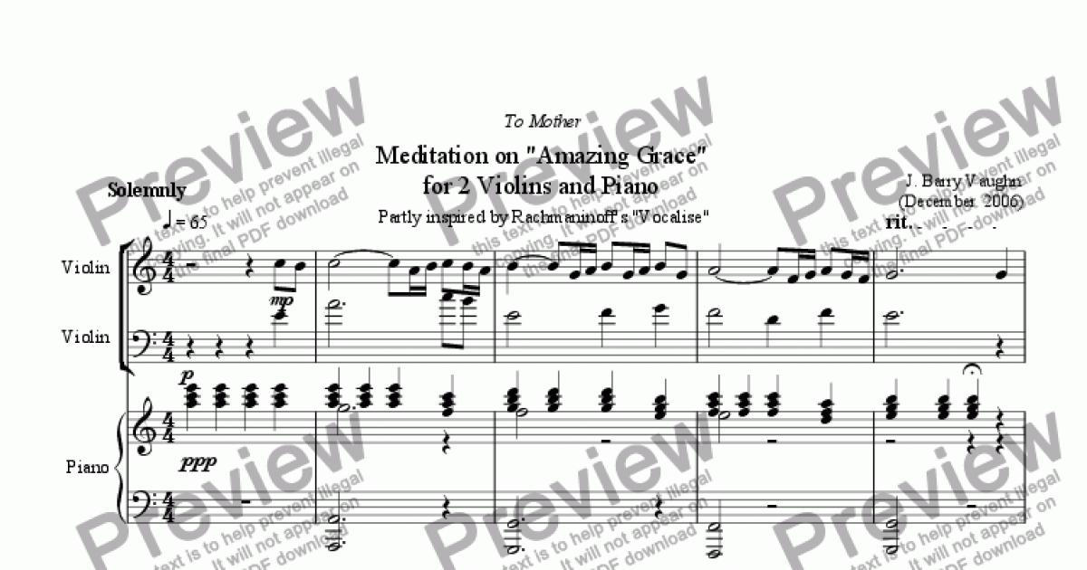 Meditation on Amazing Grace for 2 Violins and Piano
