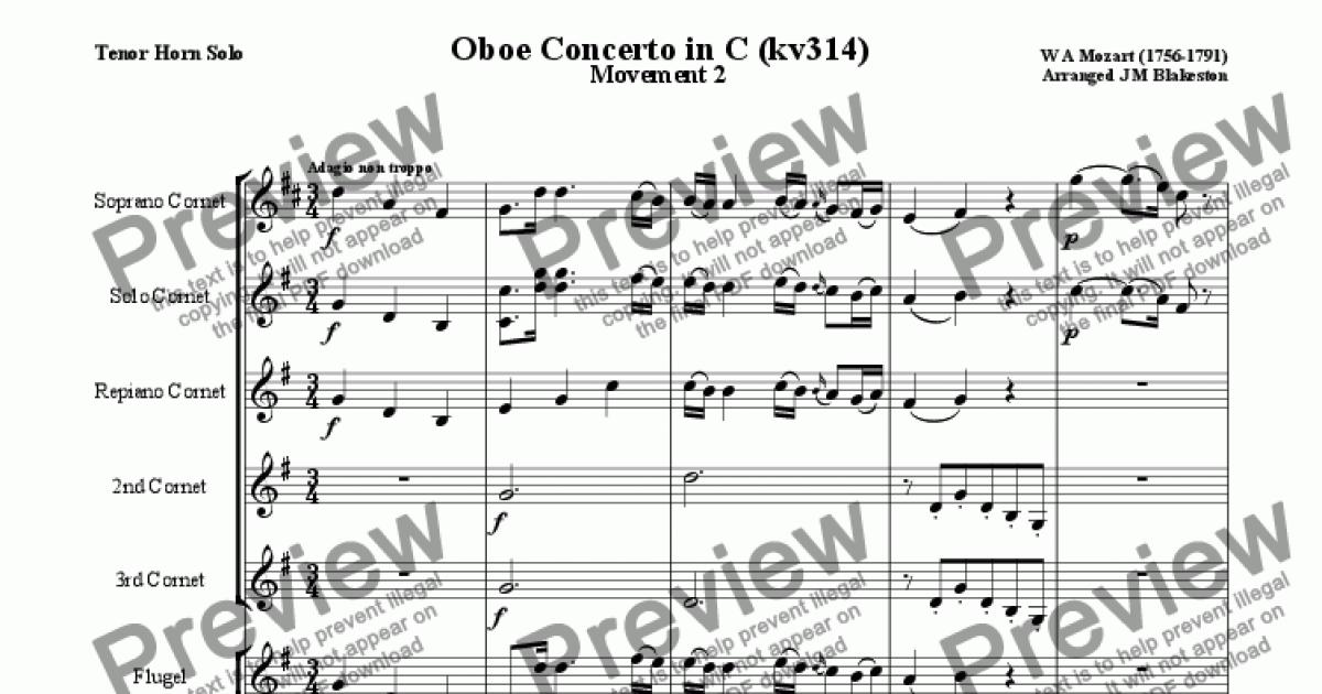 Mozart Concerto in C for Oboe: Adagio (Tenor Horn Solo)