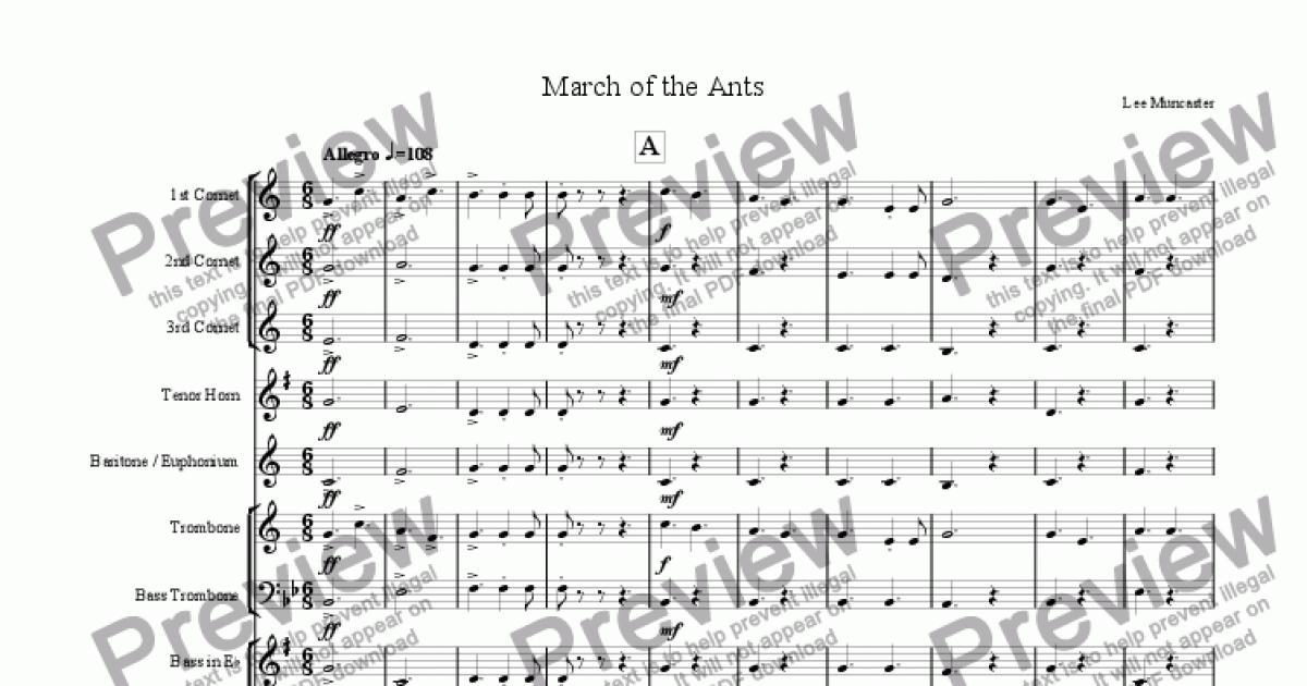 3rd Cornet part from March of the Ants (Beginner Brass