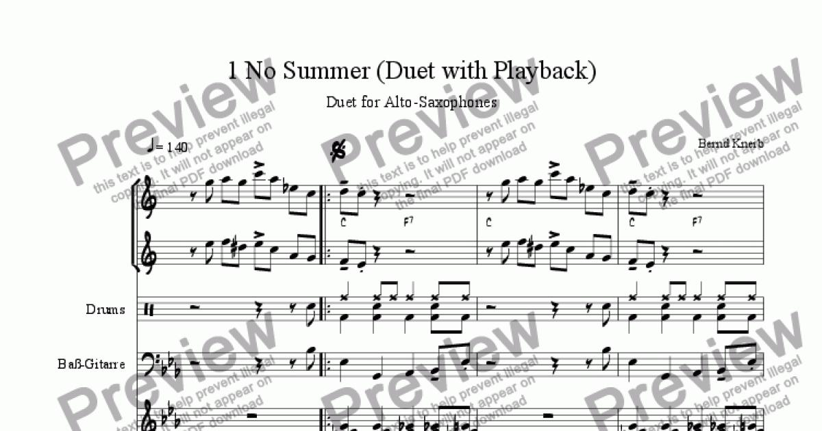 1 No Summer (duet for alto-saxophones with playback