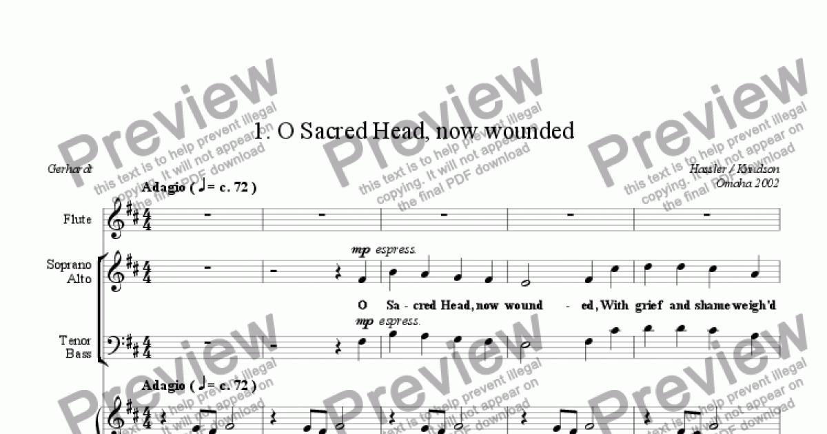 O Sacred Head, now wounded (Mixed Chorus, Piano, Flute