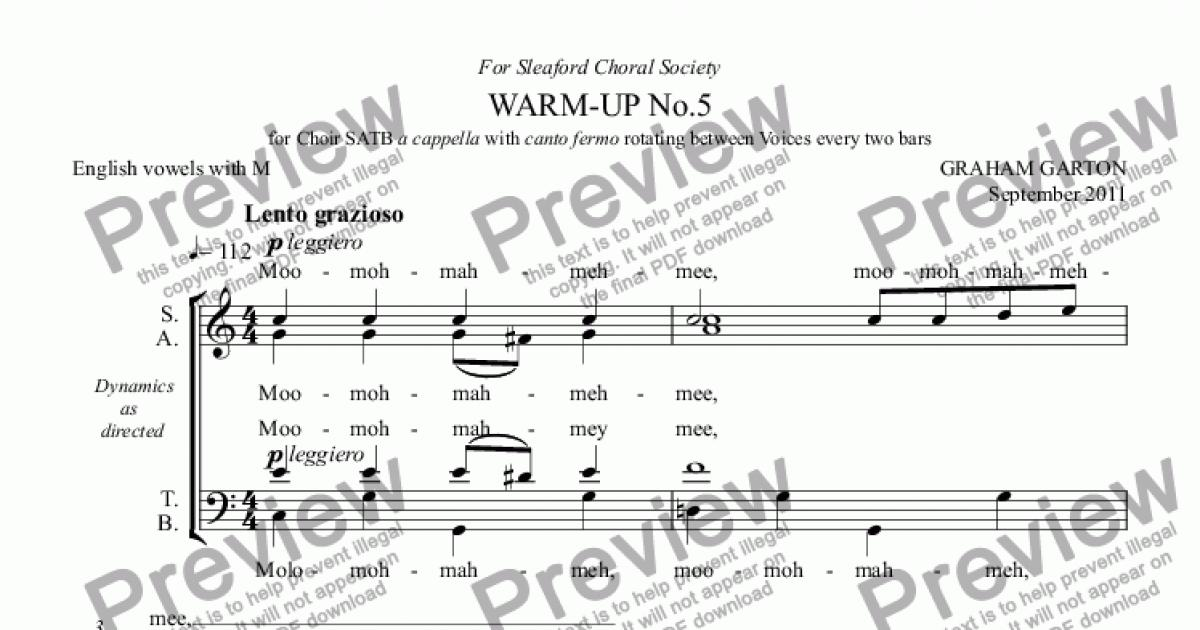 WARM-UP No.5 for Choir SATB a cappella with canto fermo