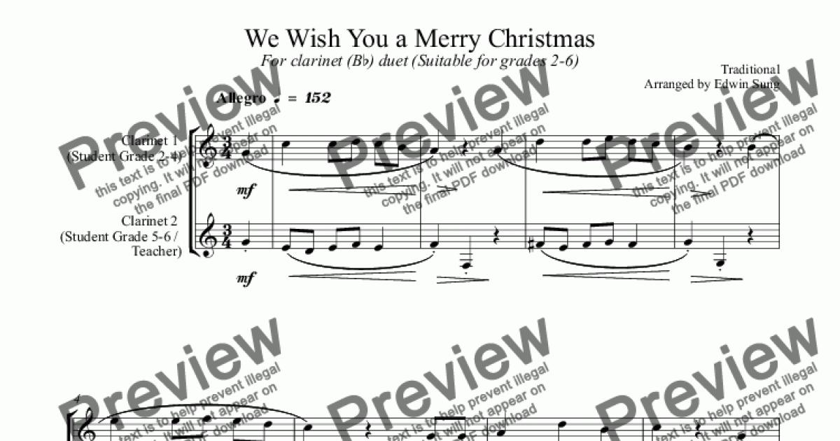 We Wish You a Merry Christmas (for clarinet (Bb) duet