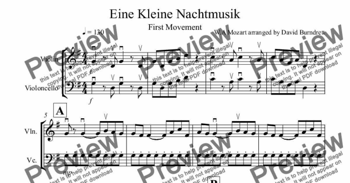 Eine Kleine Nachtmusik (1st movement) for Violin and Cello