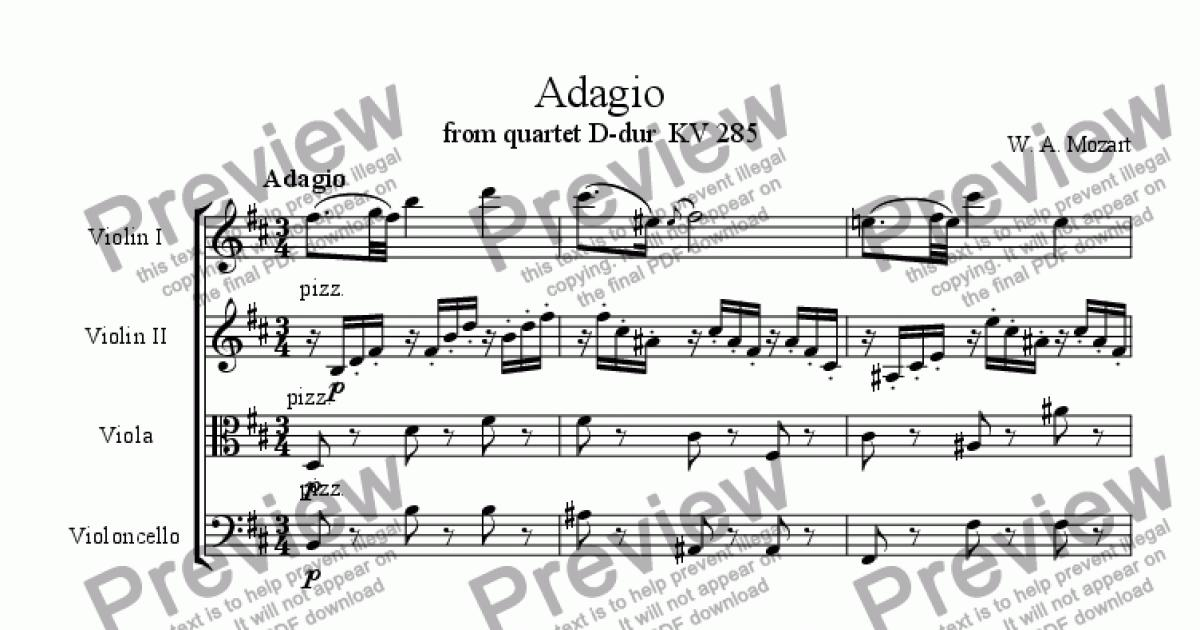 Violin III (Viola part) part from Adagio from flute