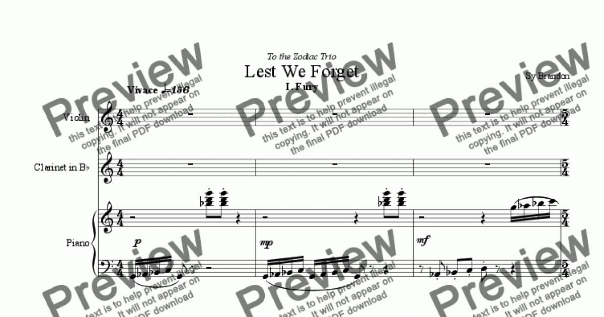 Violin part from Lest We Forget for Bb Clar., Violin and