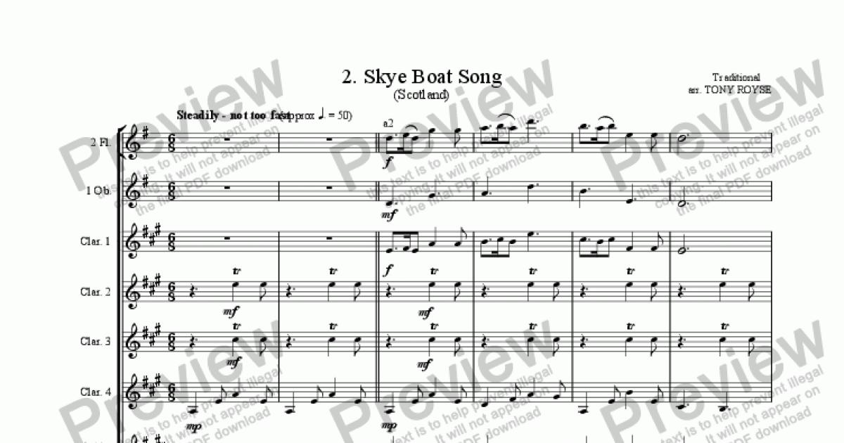Trumpet 2 part from Skye Boat Song for School Orchestra